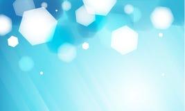 Fond bleu abstrait de bokeh d'hexagone Photographie stock libre de droits