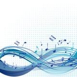 Fond bleu abstrait de musique avec des notes Images stock