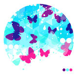 Fond bleu abstrait de papillons Image stock