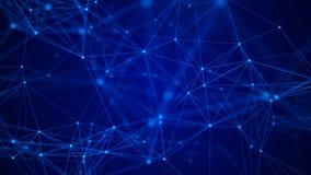 Fond bleu abstrait Effet de plexus Structure de connexion r?seau rendu 3d images libres de droits