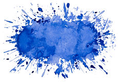 Fond bleu artistique abstrait d'objet d'éclaboussure d'aquarelle Photographie stock
