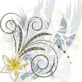 Fond bleu avec des fleurs illustration de vecteur