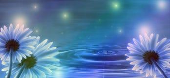 Fond bleu avec des fleurs Photos libres de droits