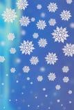 Fond bleu avec des flocons de neige illustration stock