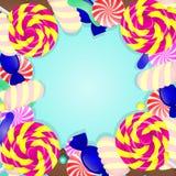 Fond bleu avec différents bonbons illustration stock