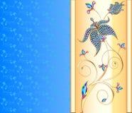 Fond bleu avec la fleur d'or des pierres précieuses Photographie stock libre de droits