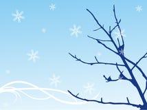 Fond bleu avec la neige Photos libres de droits