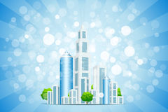 Fond bleu avec la ville et les rayons d'affaires Photographie stock libre de droits