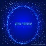 Fond bleu avec le cadre rond des étoiles Illustration de vecteur Photographie stock
