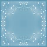 Fond bleu avec les éléments floraux Photographie stock