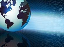 Fond bleu avec les nombres et la silhouette du globe Photographie stock libre de droits