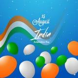Fond bleu brillant décoré d'onduler le drapeau national indien illustration de vecteur