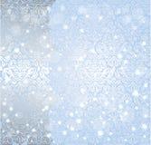 Fond bleu brillant de vintage de flocon de neige d'hiver de Noël Image libre de droits