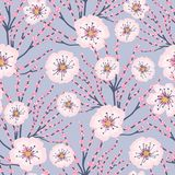 Fond bleu Cherry Blossom Meadows Seamless Pattern de fleurs de rose de vecteur illustration stock