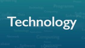 Fond bleu-clair avec différents mots, qui traitent la technologie Fin vers le haut Copiez l'espace 3d illustration de vecteur