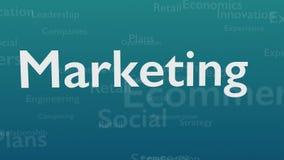 Fond bleu-clair avec les mots de sujet, qui traitent le marketing Le mot audacieux est situ? au centre de illustration libre de droits