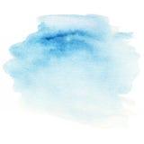 Fond bleu coloré d'éclaboussure d'aquarelle Tache abstraite d'encre Photographie stock