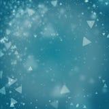 Fond bleu cyan abstrait avec les lumières defocused de bokeh de triangle Photographie stock libre de droits