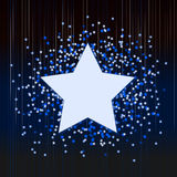 Fond bleu décoratif avec des confettis des étoiles Photo libre de droits
