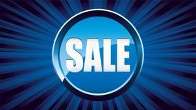 Fond bleu d'annonce de vente avec le texte dans le bouton de scintillement illustration stock