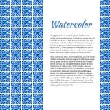 Fond bleu d'aquarelle Cadre abstrait dans le style en céramique Calibre avec l'endroit pour votre texte Image stock