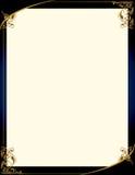 Fond bleu d'or avec la trame Photographie stock