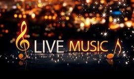 Fond bleu 3D de jaune d'éclat d'étoile de Bokeh de ville d'argent d'or de musique du fond 3DLive d'éclat d'étoile de Live Music G Photo libre de droits