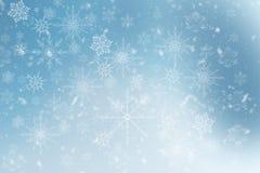Fond bleu d'hiver avec des flocons de neige illustration de vecteur