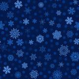 Fond bleu d'hiver sans couture avec des flocons de neige Photographie stock