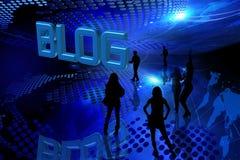 Fond bleu de blog Image stock