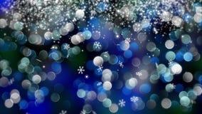 Fond bleu de bokeh créé par les lampes au néon 4K Photo stock