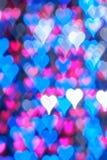 Fond bleu de bokeh de coeur Photos libres de droits
