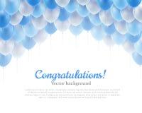 Fond bleu de boules de vol de bannière de félicitation ci-dessus Photo stock