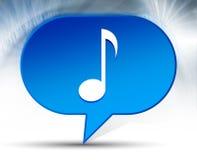 Fond bleu de bulle d'icône de note musicale photographie stock