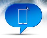 Fond bleu de bulle d'icône de signal de réseau de Smartphone photos libres de droits