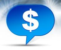 Fond bleu de bulle d'icône de symbole dollar image libre de droits