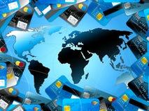 Fond bleu de cartes de crédit avec la carte du monde Photo stock