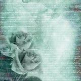 Fond bleu de charme avec le bouquet des roses illustration libre de droits