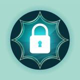 Fond bleu de bleu de ciel de bouton de rayon de soleil vitreux magique étroit d'icône de cadenas illustration libre de droits