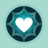 Fond bleu de bleu de ciel de bouton de rayon de soleil vitreux magique d'icône de coeur illustration stock