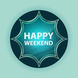 Fond bleu de bleu de ciel de bouton de rayon de soleil vitreux magique heureux de week-end illustration de vecteur