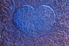 Fond bleu de coeur d'amour Photographie stock