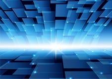 Fond bleu de couleur de technologie virtuelle Photos libres de droits