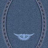 Fond bleu de denim avec deux coutures Image stock
