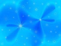 Fond bleu de draperie avec des flocons de neige Photographie stock libre de droits