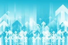 Fond bleu de flèches Images libres de droits