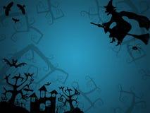 Fond bleu de Halloween avec la sorcière Photos stock