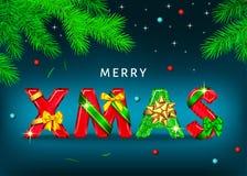 Fond bleu de Joyeux Noël avec les lettres décoratives avec le gi illustration de vecteur