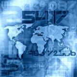 Fond bleu de l'information du monde Image stock