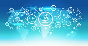 Fond bleu de microscope de carte du monde d'icône d'interface de soins de santé de concept médical futuriste de connexion réseau  illustration stock